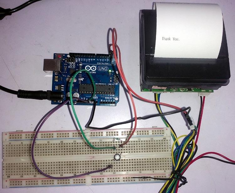 Внешний вид подключения термопринтера к Arduino Uno