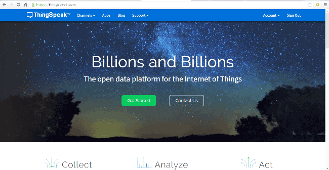 Внешний вид главной страницы сервиса ThingSpeak.com
