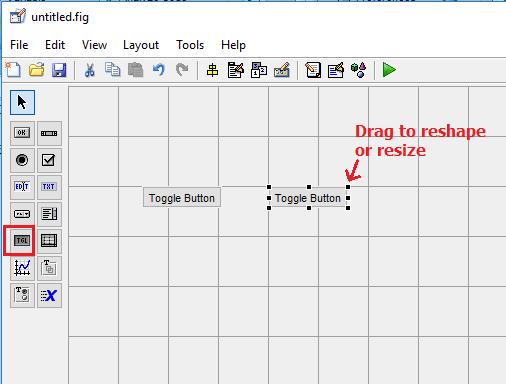 Размещение в рабочем поле графического интерфейса двух кнопок-переключателей