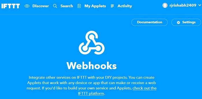 Главная страница Webhooks