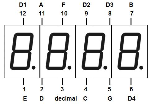 Распиновка 4-х разрядного семисегментного дисплея
