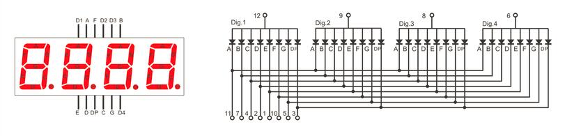 Внутренняя схема соединений 4-х разрядного семисегментного дисплея