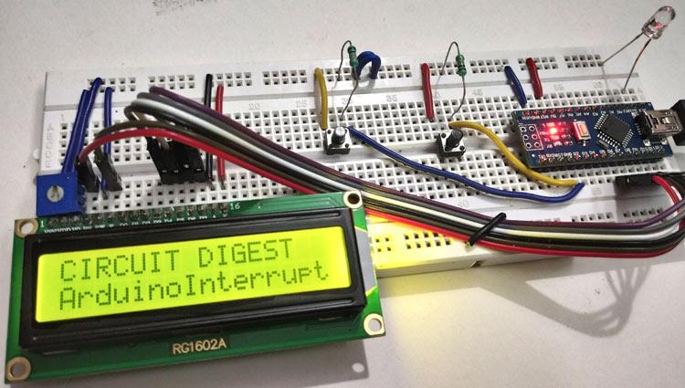 Внешний вид конструкции для демонстрации возможностей использования прерываний в Arduino