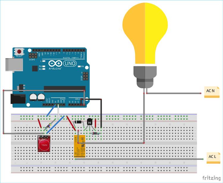 Схема соединений проекта на макетной плате