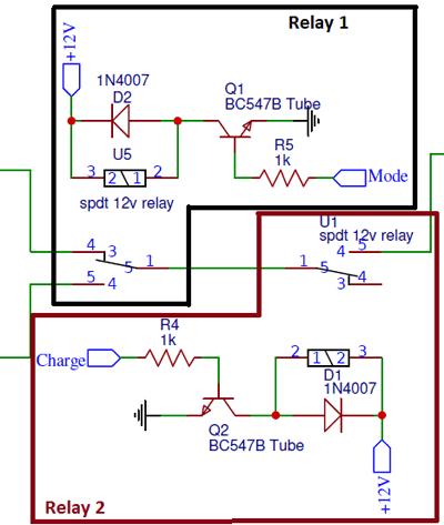 Зоны функционирования реле в схеме зарядного устройства литиевых батарей