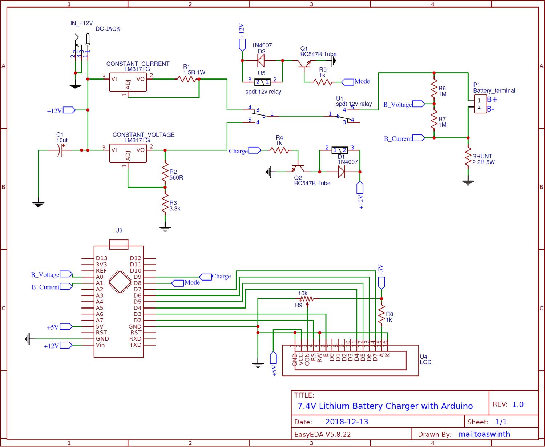Схема двухрежимного зарядного устройства литиевых батарей 7.4 В на основе платы Arduino