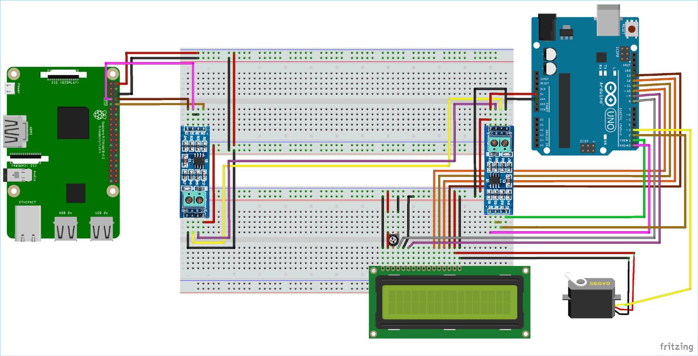 Схема проекта последовательной связи с помощью интерфейса RS-485 между Raspberry Pi и Arduino Uno