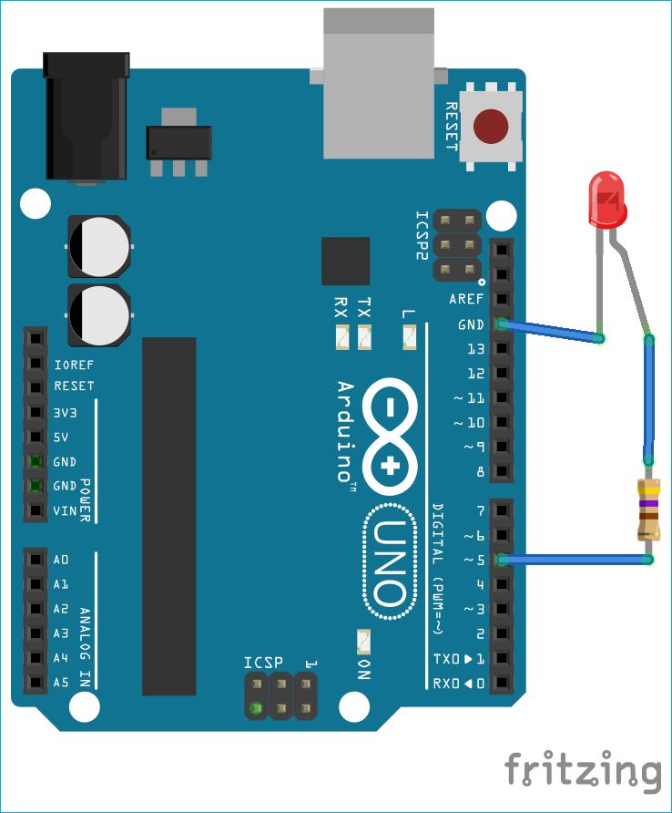 Схема проекта управления светодиодом с помощью платы Arduino и платформы Node.js