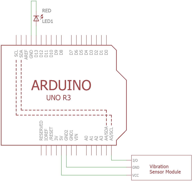 Схема подключения датчика вибрации SW-420 к плате Arduino Uno