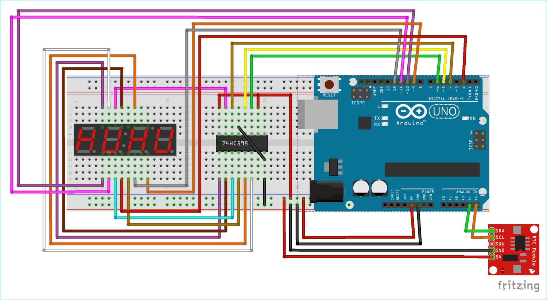 Схема часов на Arduino и 4-х разрядном семисегментном индикаторе