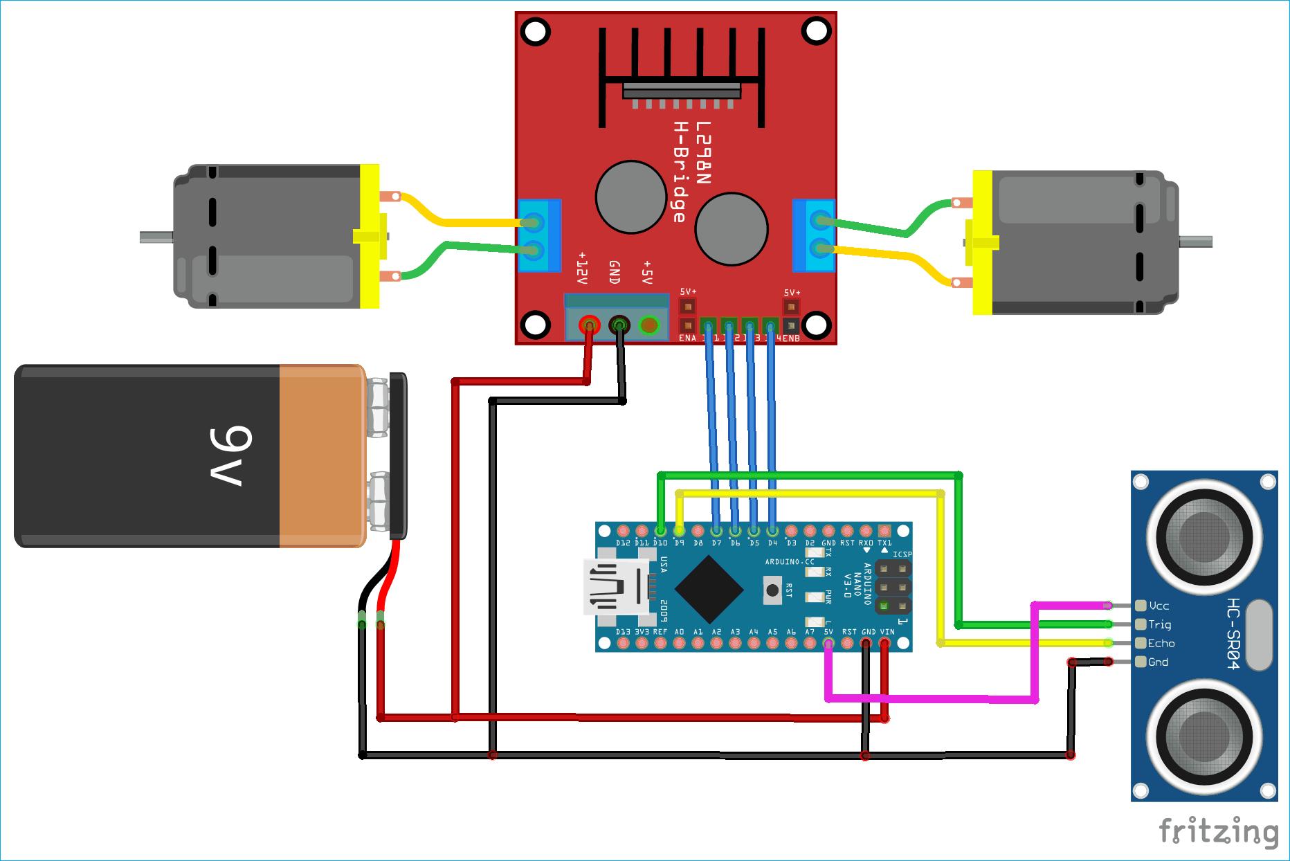 Схема робота на Arduino, объезжающего препятствия