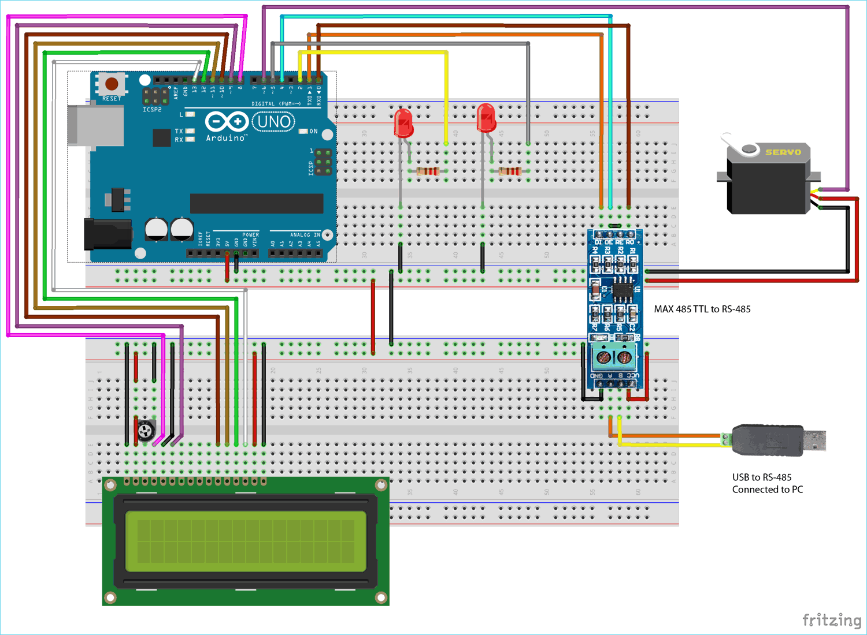 Схема для последовательной связи по протоколу Modbus RS-485 с платой Arduino