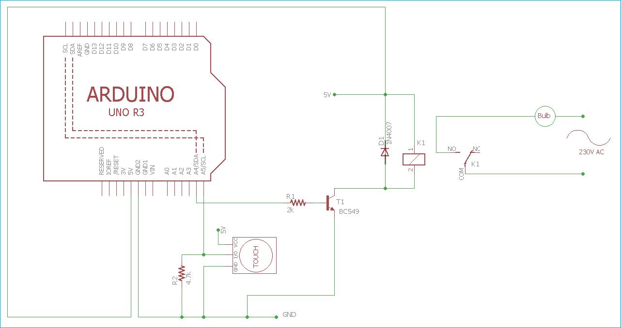 Схема управления светом в доме с помощью сенсорного датчика и платы Arduino