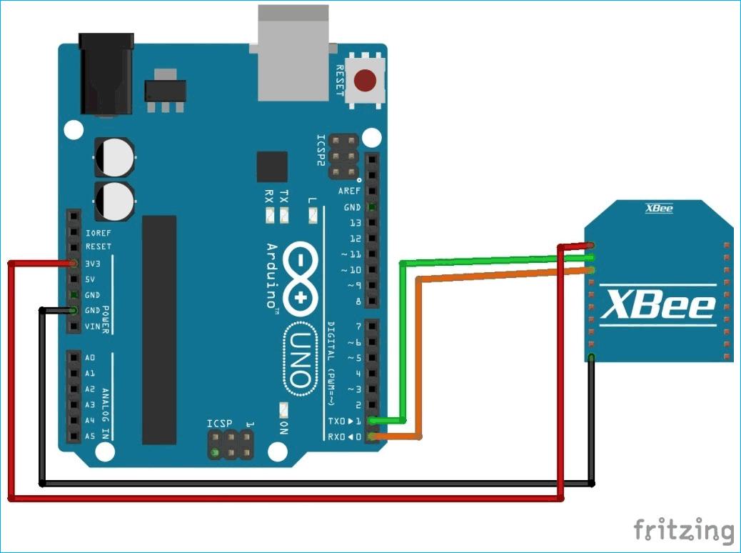 Схема подключения модуля XBee (ZigBee) к плате Arduino для передающей части нашего проекта