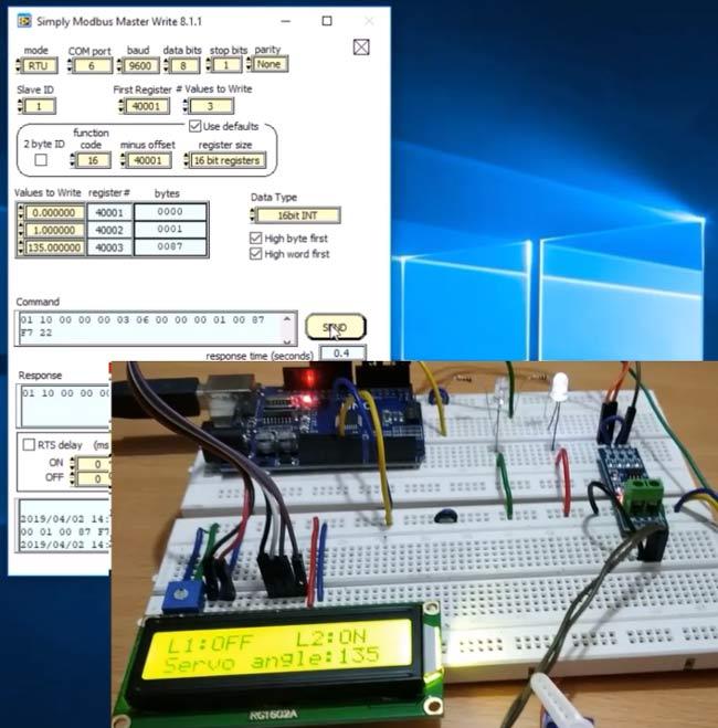 1-й светодиод не горит, 2-й светодиод горит, сервомотор повернут на 135 градусов