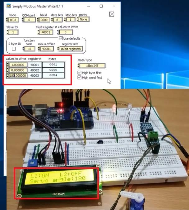 1-й светодиод горит, 2-й светодиод не горит, сервомотор повернут на 180 градусов