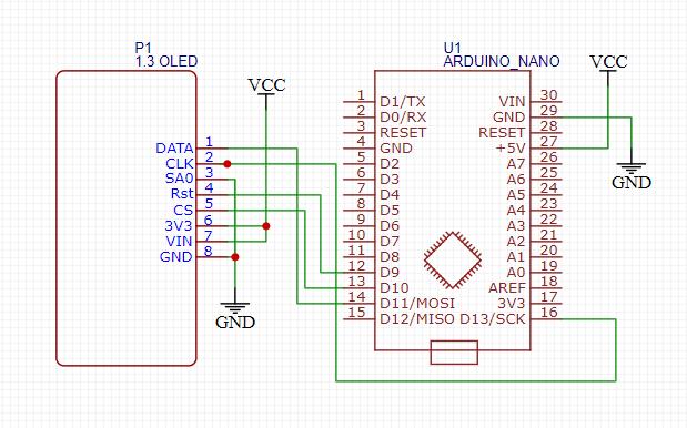 Схема подключения OLED дисплея к плате Arduino для воспроизведения потокового видео