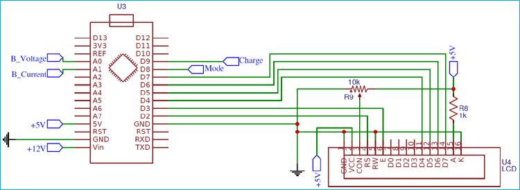 Схема подключения ЖК дисплея к плате Arduino в нашем проекте зарядного устройства