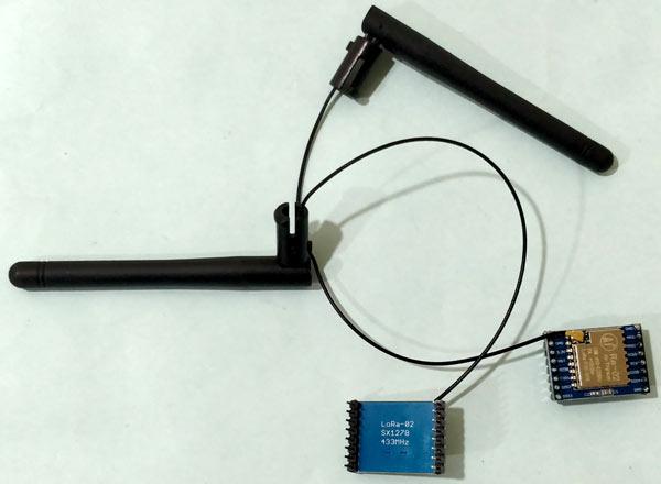 Внешний вид использованных нами модулей LoRa вместе с антеннами