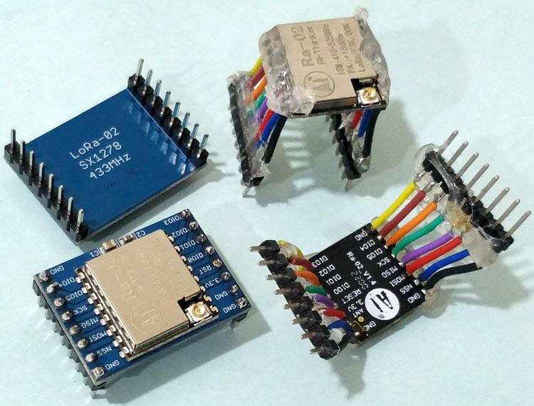 Внешний вид модулей LoRa и чипов LoRa с припаянными к ним проводами