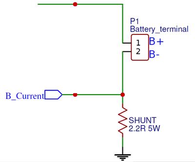 Схема измерения тока заряда с помощью шунтирующего резистора