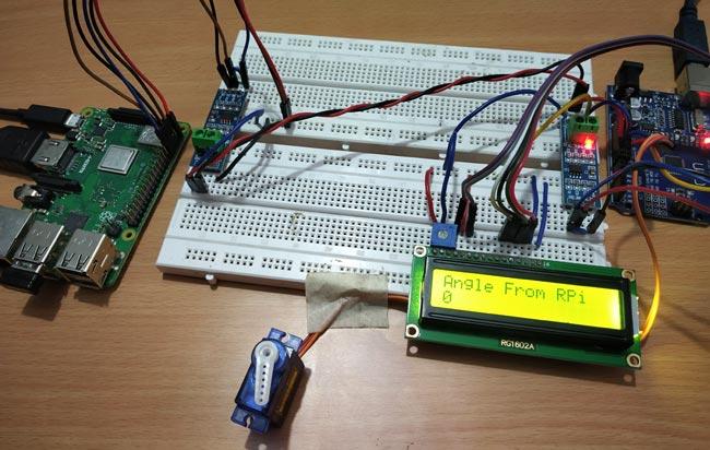 Пример работы проекта при угле поворота сервомотора 0 градусов