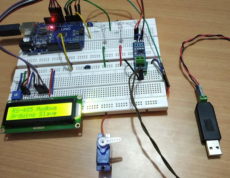 Внешний вид проекта последовательной связи по протоколу Modbus RS-485 с ведомой Arduino