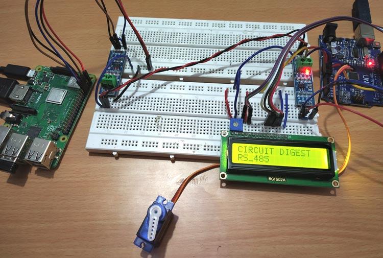 Внешний вид проекта последовательной связи по протоколу RS-485 между Raspberry Pi и Arduino Uno