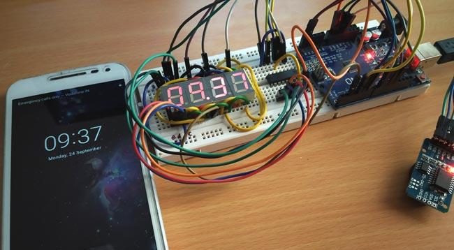 Тестирование работы проекта часов на Arduino и 4-х разрядном семисегментном индикаторе