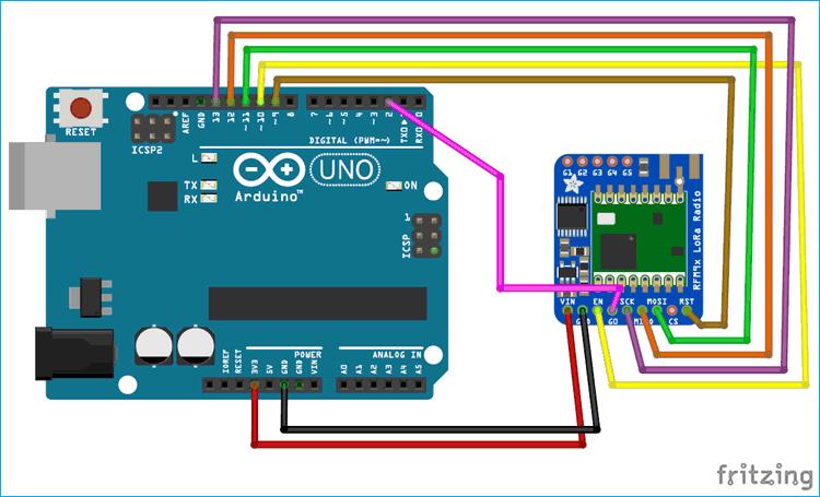 Схема подключения платы Arduino Uno к модулю LoRa