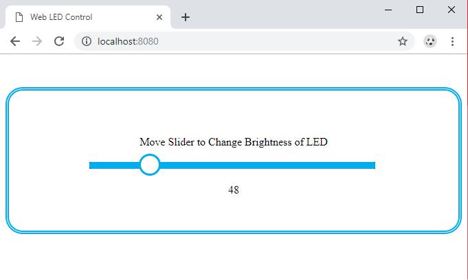 Слайдер на веб-странице, с помощью которого можно будет управлять яркостью свечения светодиода