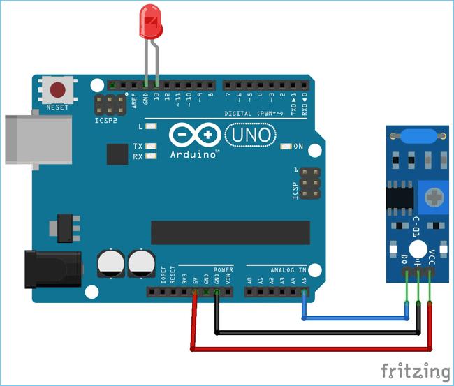 Схема подключения датчика вибрации SW-420 к плате Arduino Uno (fritzing)