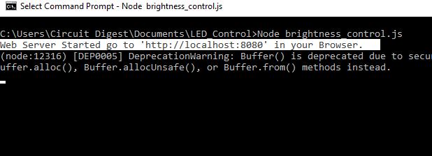 Проверка программы Node.js для управления яркостью свечения светодиода