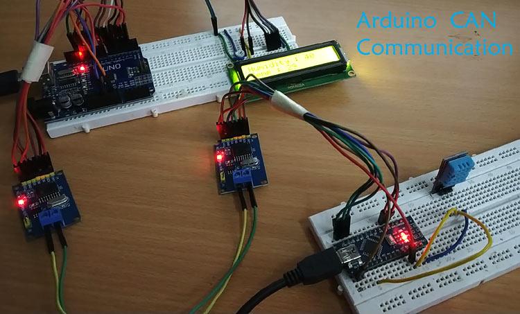 Внешний вид подключения контроллера шины CAN MCP2515 к плате Arduino
