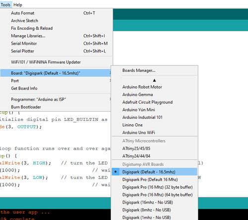 Новый пункт меню с именем 'Digispark' в Arduino IDE