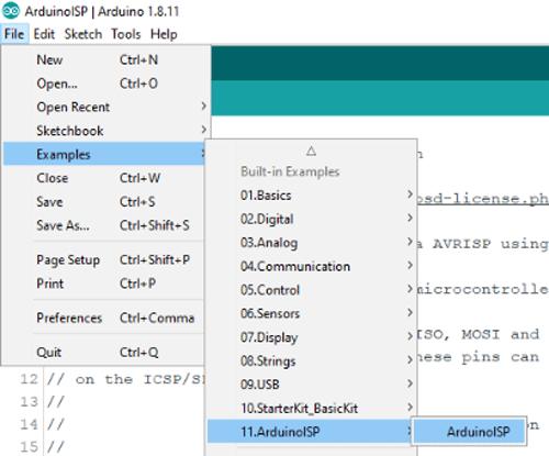 Конфигурирование платы Arduino Uno в качестве ISP программатора