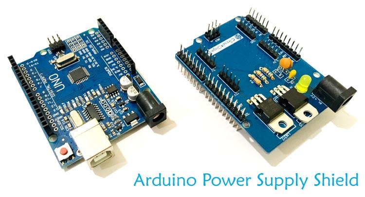 Внешний вид шилда источника питания для Arduino с выходными напряжениями 3.3, 5 и 12 В