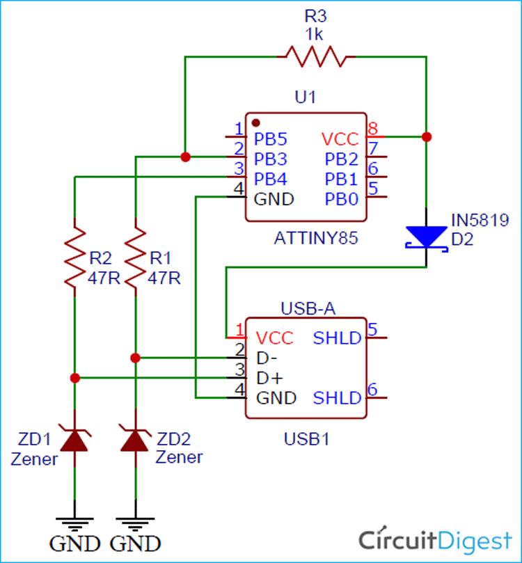 Схема USB программатора для ATtiny85