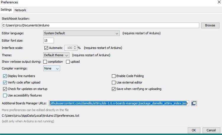Добавление поддержки платы Digispark в Arduino IDE