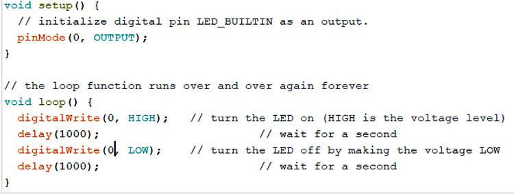 Изменение в примере мигания светодиода номера контакта с LED_BUILTIN на 0