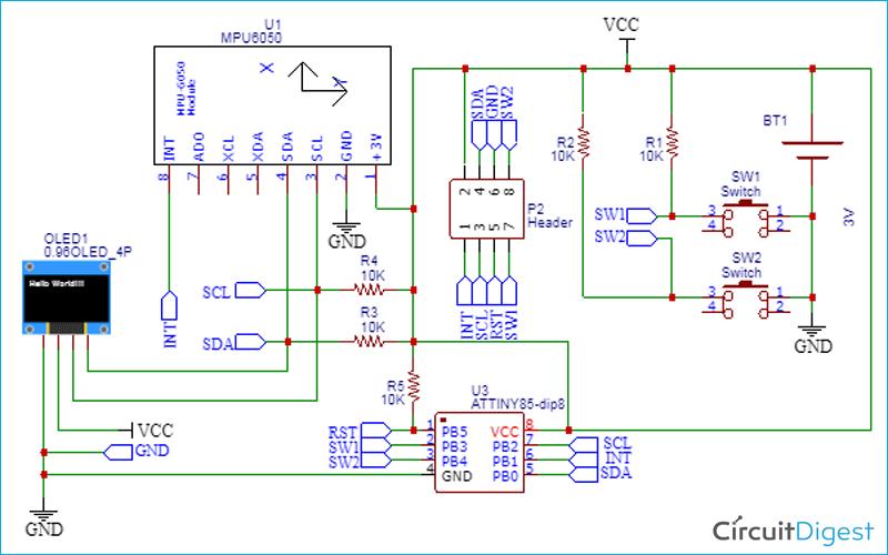 Схема шагомера на ATtiny85 и акселерометре MPU6050