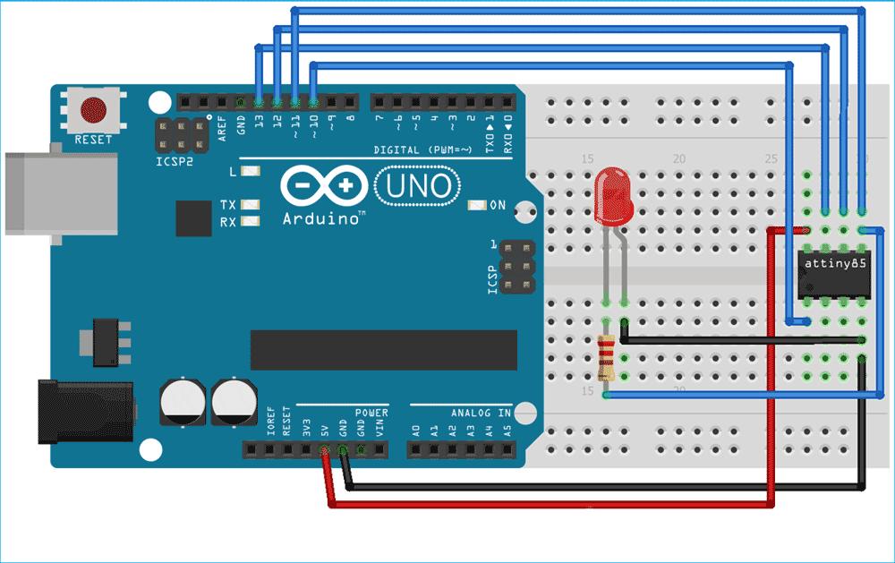 Схема для программирования ATtiny85 с помощью платы Arduino Uno