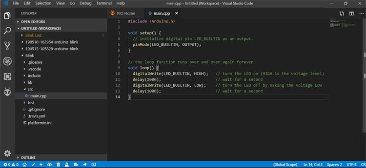 Написание кода программы для мигания светодиодом