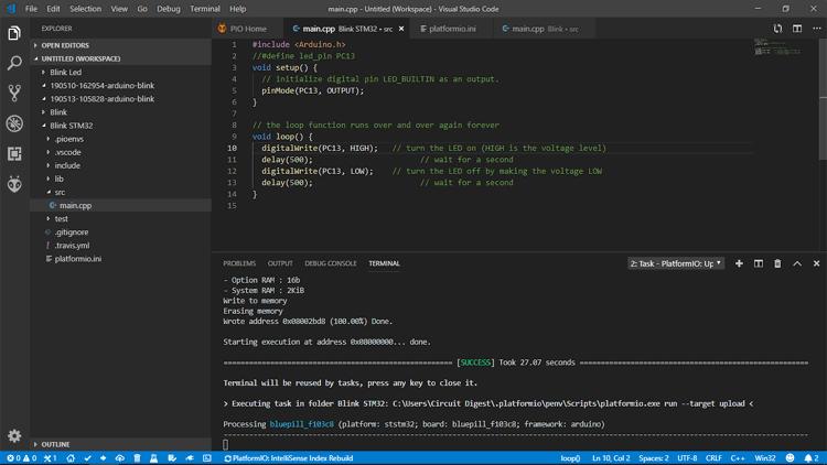 Написание кода программы мигания светодиодом для STM32
