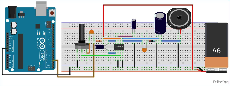 Схема преобразователя текста в речь на основе платы Arduino Uno