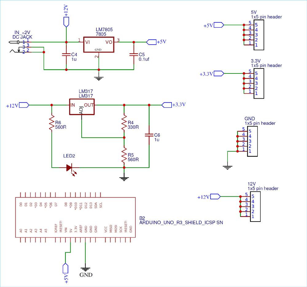 Схема шилда источника питания для Arduino Uno с выходными напряжениями 3.3, 5 и 12 В