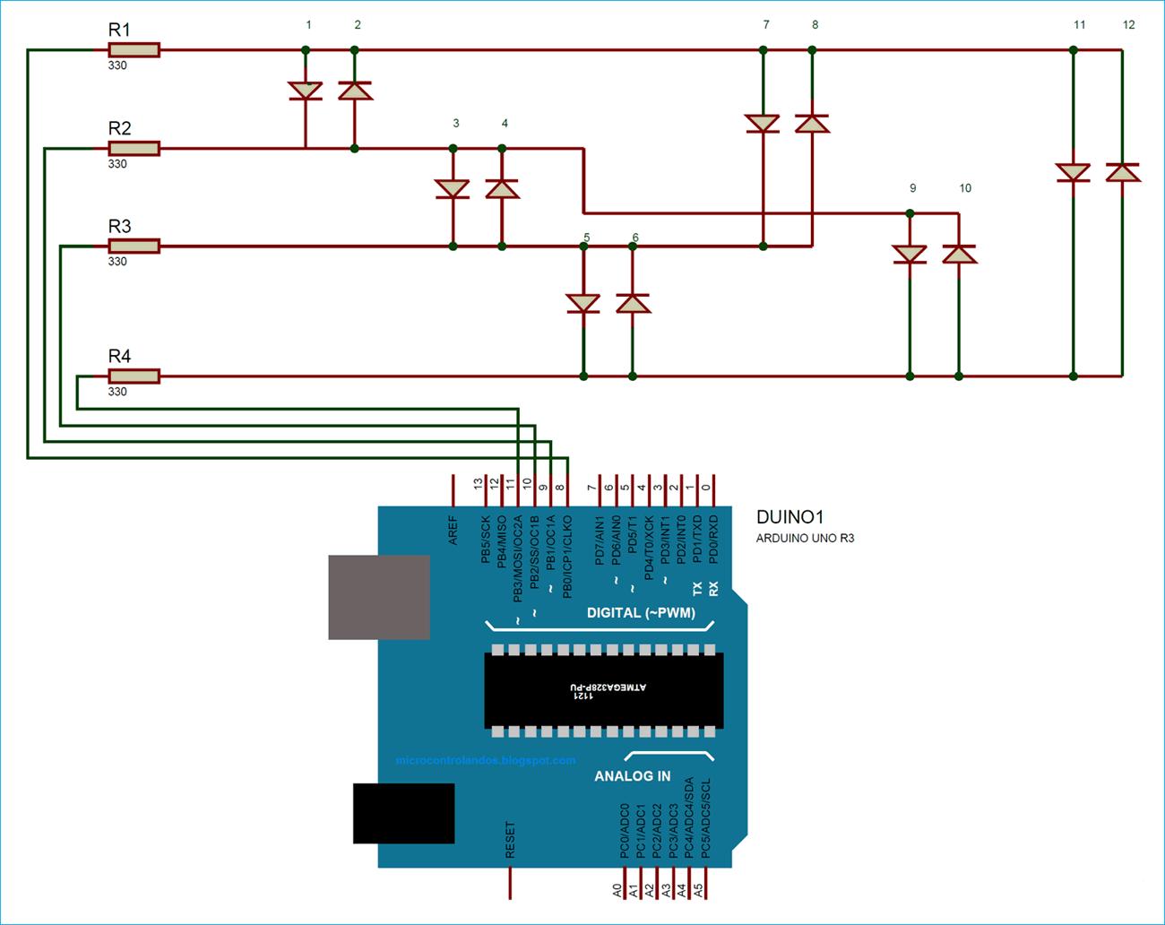 Схема проекта для демонстрации технологии чарлиплексинга в плате Arduino