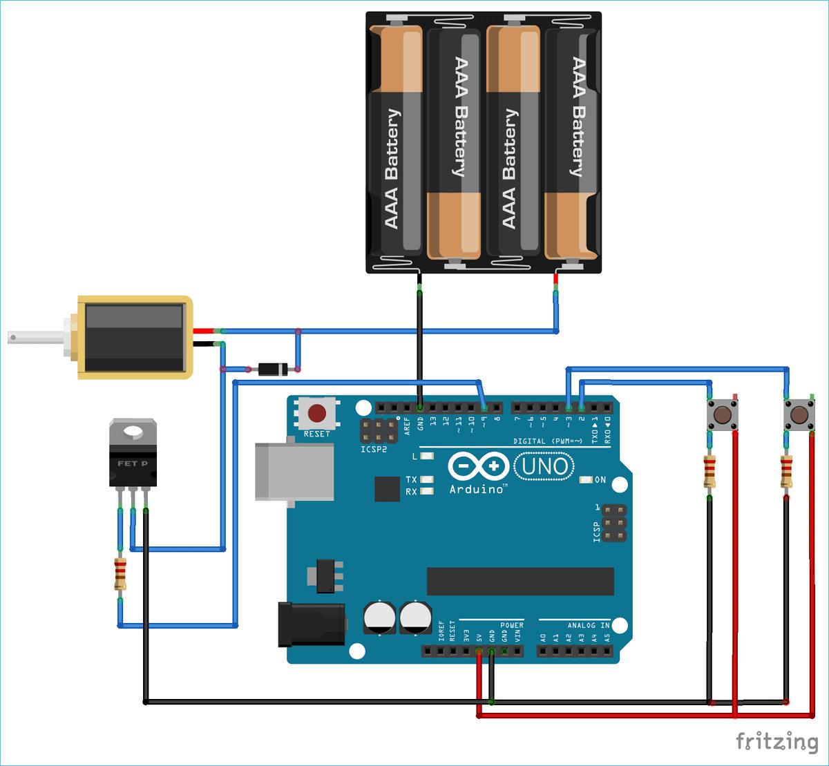 Схема подключения соленоидного клапана к плате Arduino Uno