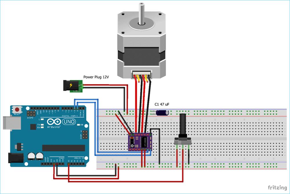 Схема управления шаговым двигателем NEMA 17 с помощью Arduino и драйвера DRV8825