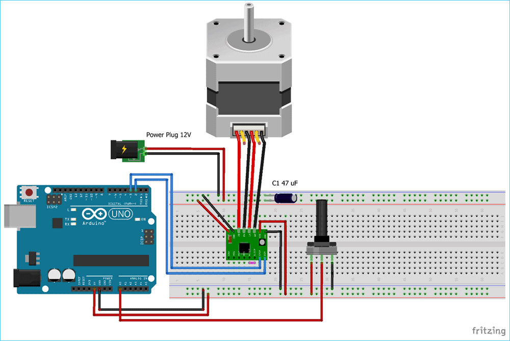Схема управления шаговым двигателем NEMA 17 с помощью Arduino и драйвера A4988